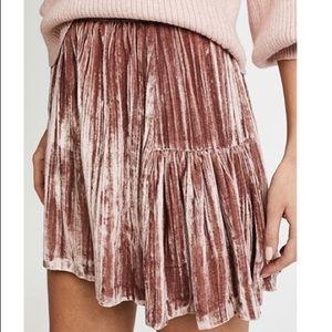 Madewell crushed velvet dusty rose skirt 8